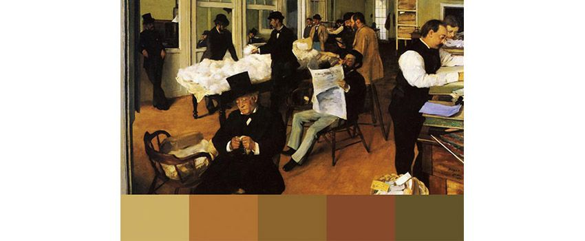 Brown color palette: from the cotton office by Degas