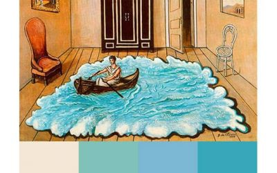 Pale blue color palette by Chirico's boat in a room